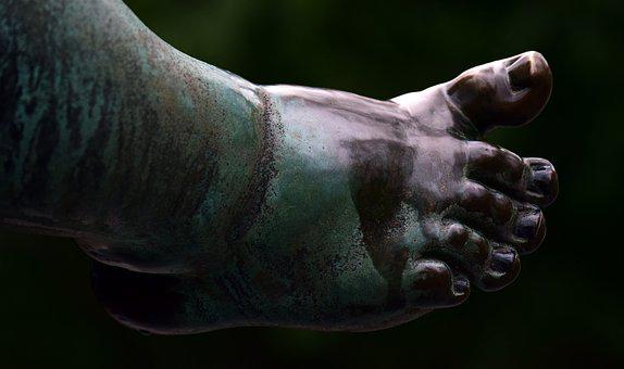 Foot, Ten, Naked, Naked Feet, Bronze, Statue, Foot Care