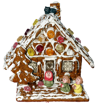 Gingerbread House, Marzipan Figures, Gingerbread, Candy