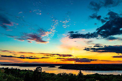 Stockholm, West, Sunset, Clouds, Sweden, Sky, Nature