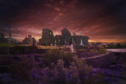 Ireland, Cemetery, Ruin, Cross, Tombstone, Old
