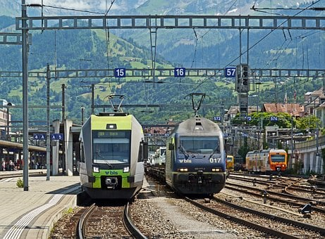 Switzerland, Railway Station Spiez, Bls, Colorful Train