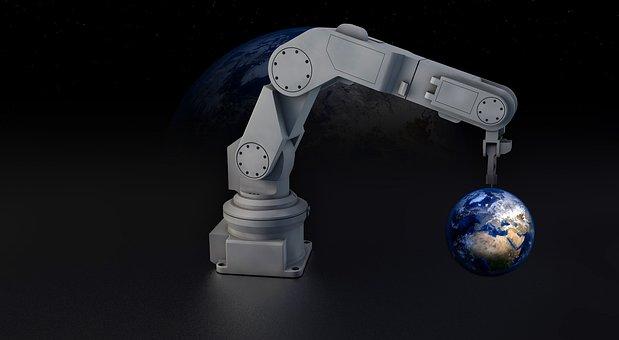 Robot, Robot Arm, Earth, Globe, Machine, Sculpture