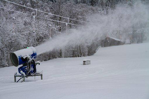 Winter, Snow Cannon, Snowmaking, Propeller Plane, Snow