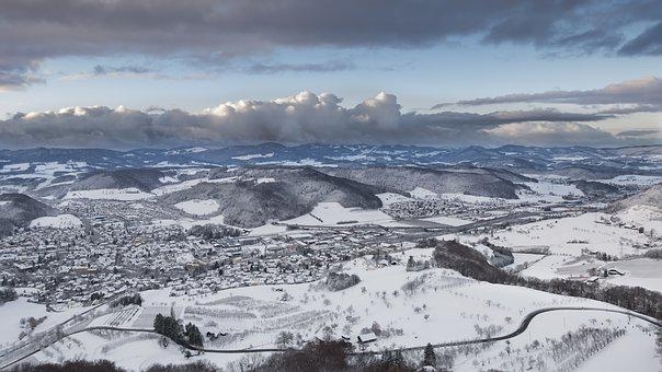 Wintry, Snow, Snow Landscape, Urban Sprawl, Snowy, Jura