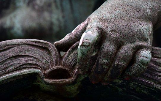 Book, Read, Hand, Literature, Bronze, Statue, Green
