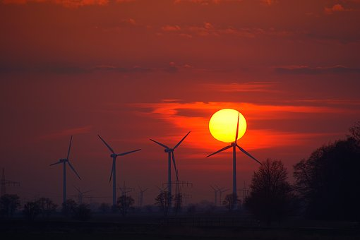 Setting, Energy, Sunset, Mood, Back Light, Wind Power