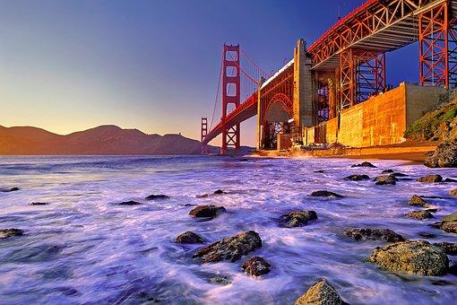 Golden Gate Bridge, San Francisco, Sunset, California