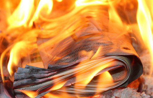 Fire, Flames, Paper, The Burning Of The Newspaper, Burn