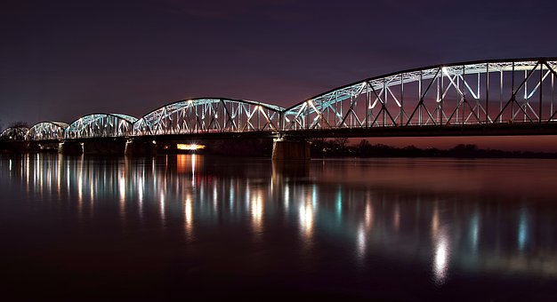 Bridge, Toruń, Wisla, Night, The Highlighted, Iron