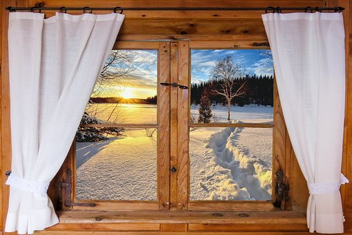 Nature, Landscape, Winter, Snow, Sunrise, Window