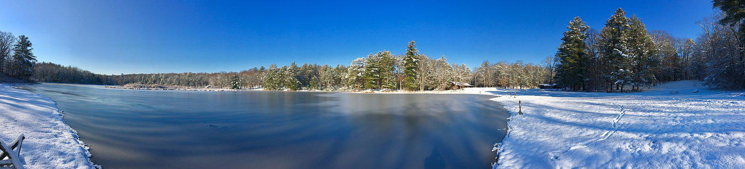 Lake, Winter, Snow, Trees, Landscape, Panoramic, Water