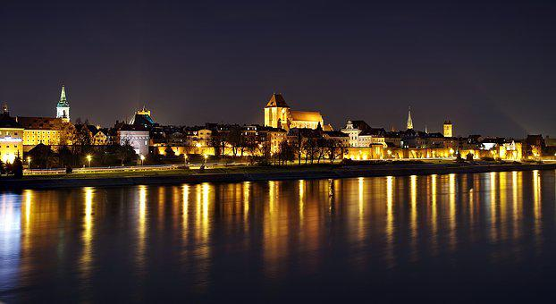 Toruń, Panorama, Night, The Old Town, Wisla, Water