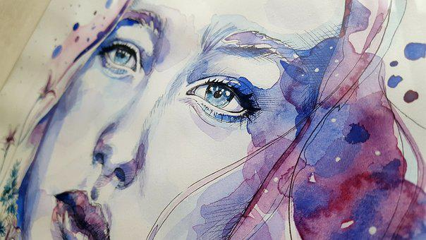 Art, Painting, Watercolor, Face, Woman, Blue, View