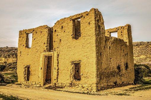 Cyprus, Ayios Sozomenos, House, Adobe Built, Village
