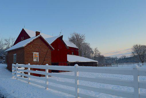 Barn, Winter, Snow, Cold, Frozen, Frost, Home, Morning