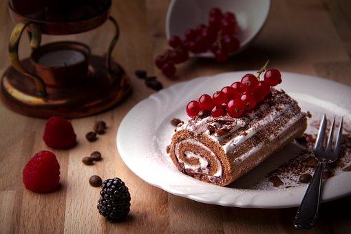 Cake, Black Forest Cherry Roll, Cream, Calories