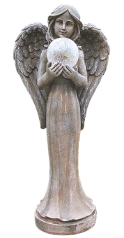 Angel, Figure, Crystal Ball, Wing, Ceramic, Sculpture