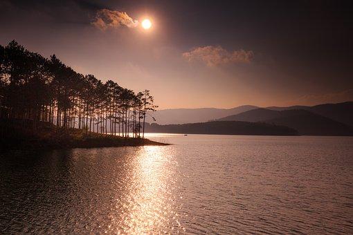 Lake, Sunset, Dawn, The Sun, Mountains, The Far Side
