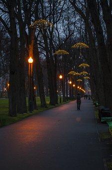 Park, Square, Path, Track, Lights, Evening, Quiet, City