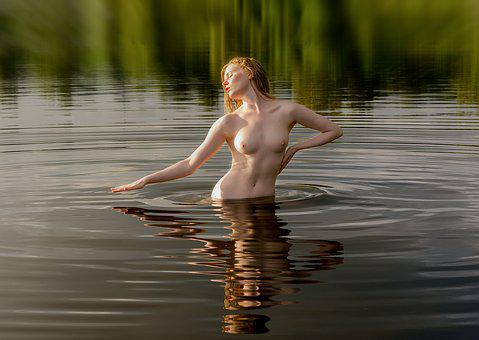 Sunset, Golden Hour, Nude, Naked, Water, Body, Young