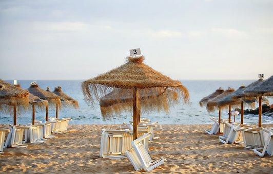 Parasol, Beach, Sea, Holiday, Summer, Ocean, Blue