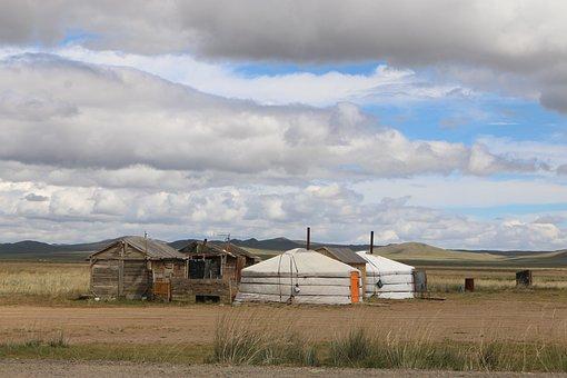 Mongolia, Yurt, Steppe, Live, Landscape, Nomads, Tent