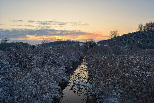 Winter, Stream, Sunrise, Landscape, Nature, Cold, Water