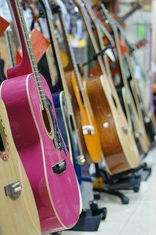 Guitar, Musical Instrument, Pink Guitar, Large, Music