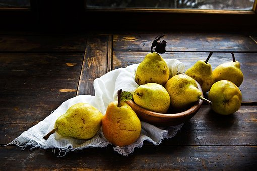 Pears, Table, Wood, Window, Light, Still Life, Autumn