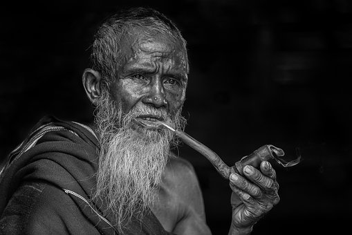 Portrait, Old People, Man, Scarf, Smoking, The Pipe