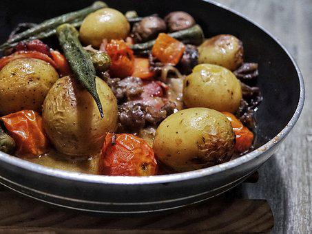 Grilled, Mixed Vegetable, Meat, Potatoes, Tomato