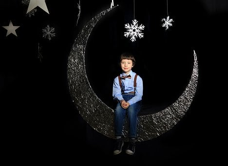 Black Background, Kids, Star, Month, Story, Dream
