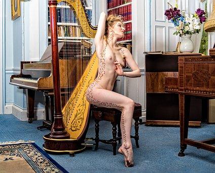 Nude, Naked, Music, Music Room, Piano, Harp