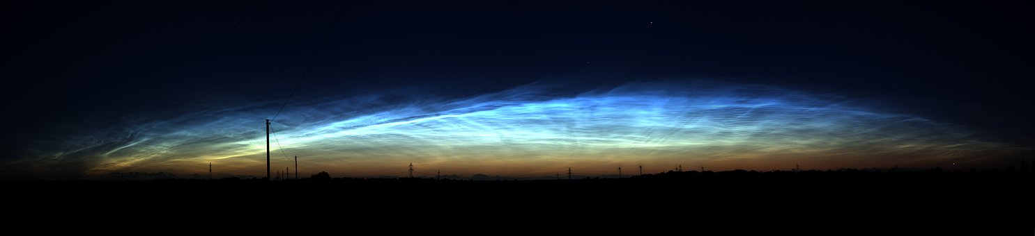 Noctilucent Clouds, At Night, Bright, Ice Particles