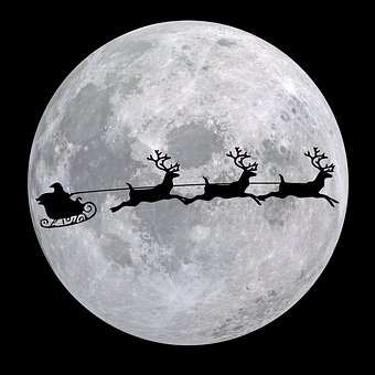 Moon, Planet, Nicholas, Reindeer Sleigh, Christmas