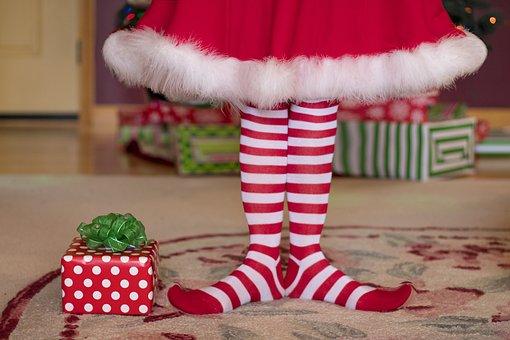 Elf, Christmas, Christmas Socks, Presents