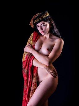 Model, Nude, Naked, Sarong, Hat, Tassel, Female, Body