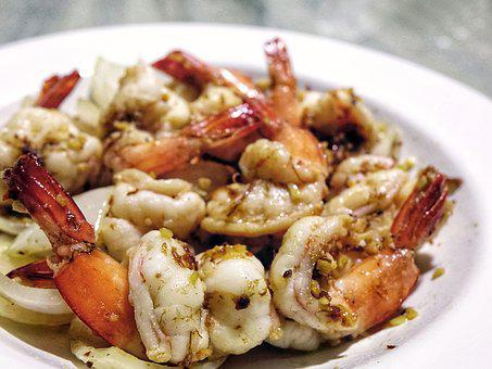 Prawn, Seafood, Shrimp, Garlic, Onion, Food, Stir-fried