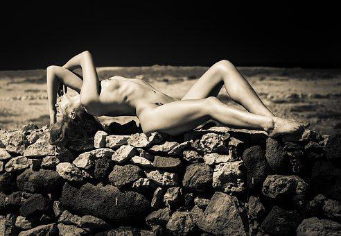 Reclined, Nude, Wall, Mono, Stones, Naked, Girl, Night