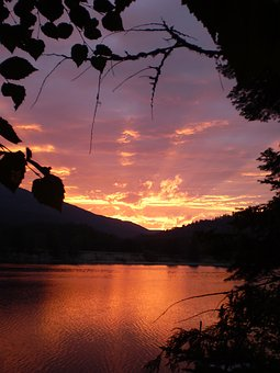 Sunset, River, Fires, Smoke, Red, Colorful