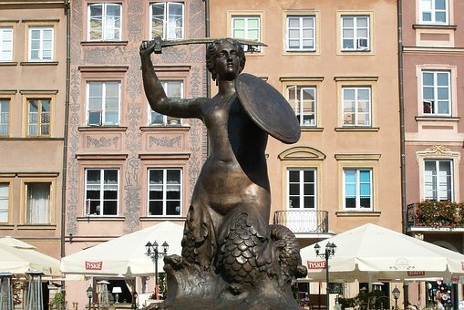Mermaid, Warsaw, Poland, Symbol, Monument, The Old Town
