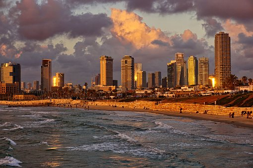 Beach, Tel Aviv, Sunset, Afterglow, Abendstimmung