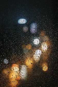 Rain, Glass, It's Raining, Night, Water Droplets