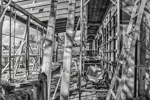 Site, Scaffold, Wheelbarrow, Construction Work