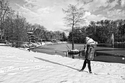Person, Standing, Snow, Winter, Pond, Fountain, Park