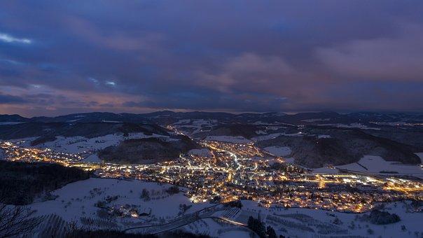Night Photograph, Houses, Snow, Urban Sprawl, Winter