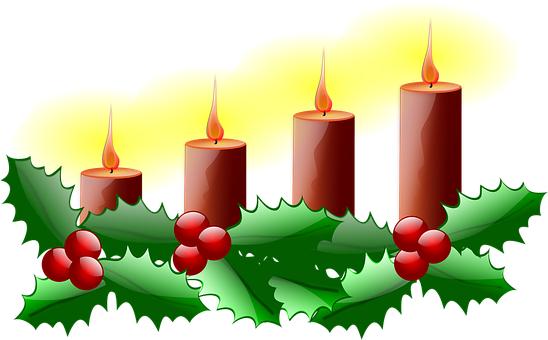 Second Advent, Christmas, Advent, Candle, Green, Red