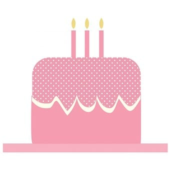 Cake, Birthday Cake, Candles, Pink, Polka Dots, Cute