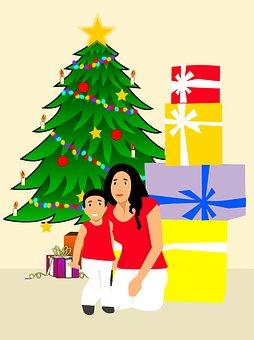 Merry Christmas, Christmas Tree, Gifts, Box, Child