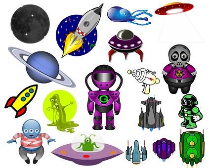 Space, Clip Art, Aliens, Space Craft, Ufo, Moon, Rocket